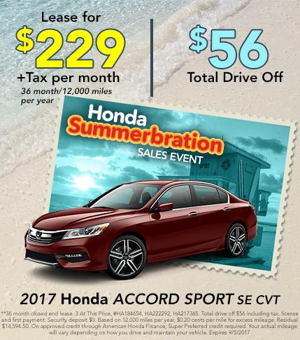 2017 Honda Accord Sport SE CVT Lease Offer