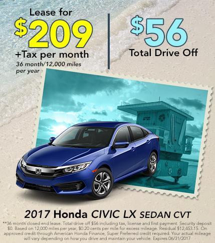 2017 Honda Civic LX Sedan CVT Lease Special