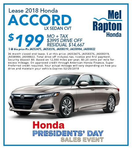2018 Accord President's Day Offer