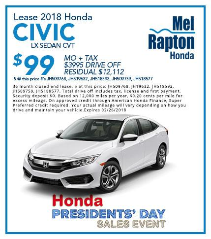 2018 Civic President's Day Offer