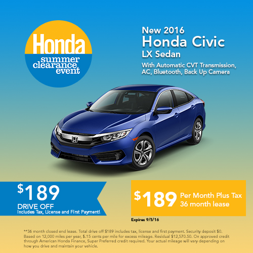 New 2016 Honda Civic LX Sedan Sale
