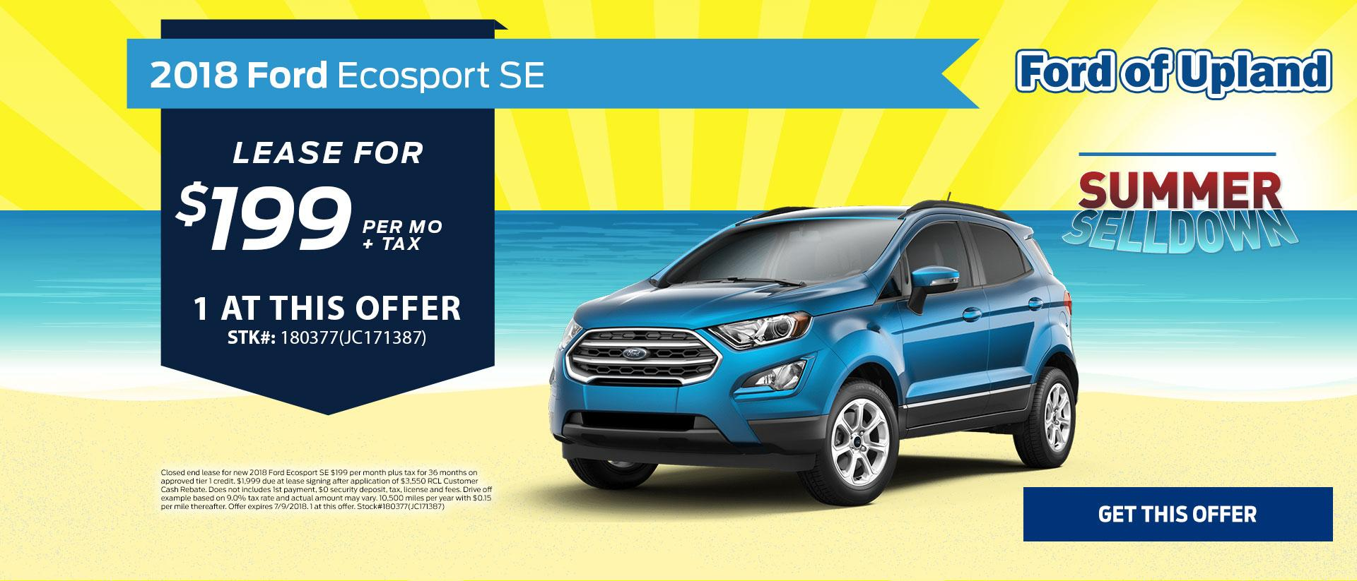 2018 Ecosport Lease Offer