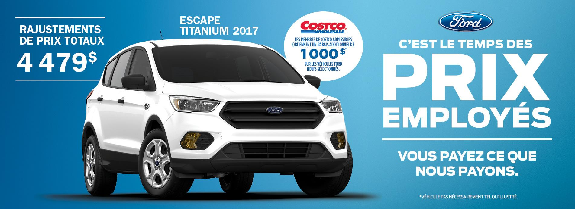 ford escape 2017 costco gatineau prix employe