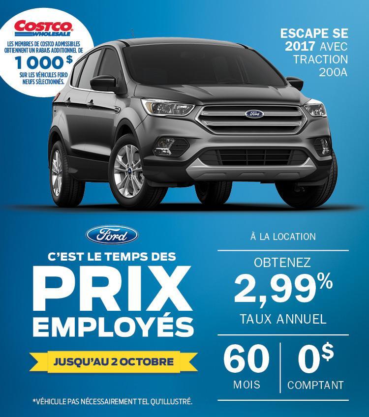 escape VUS ford 2017 ford prix employe gatineau
