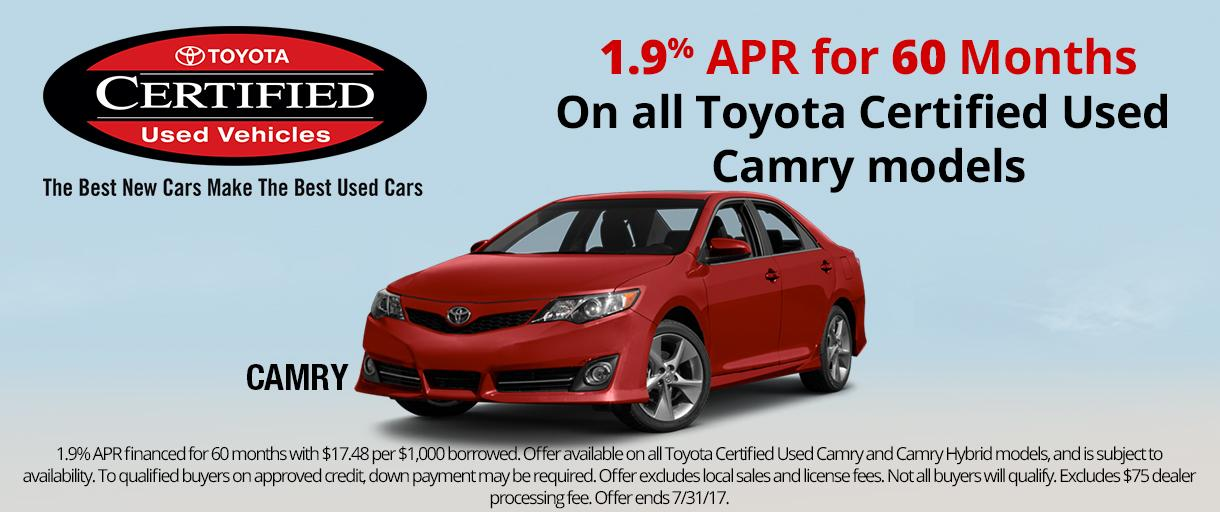 Toyota Certified Used Camry APR Special
