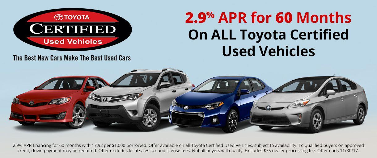 Toyota Certified Used APR Special