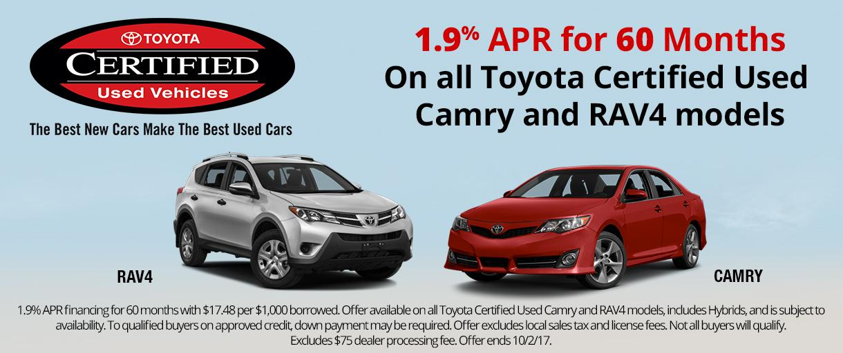 Toyota Certified Camry and RAV4 Specials