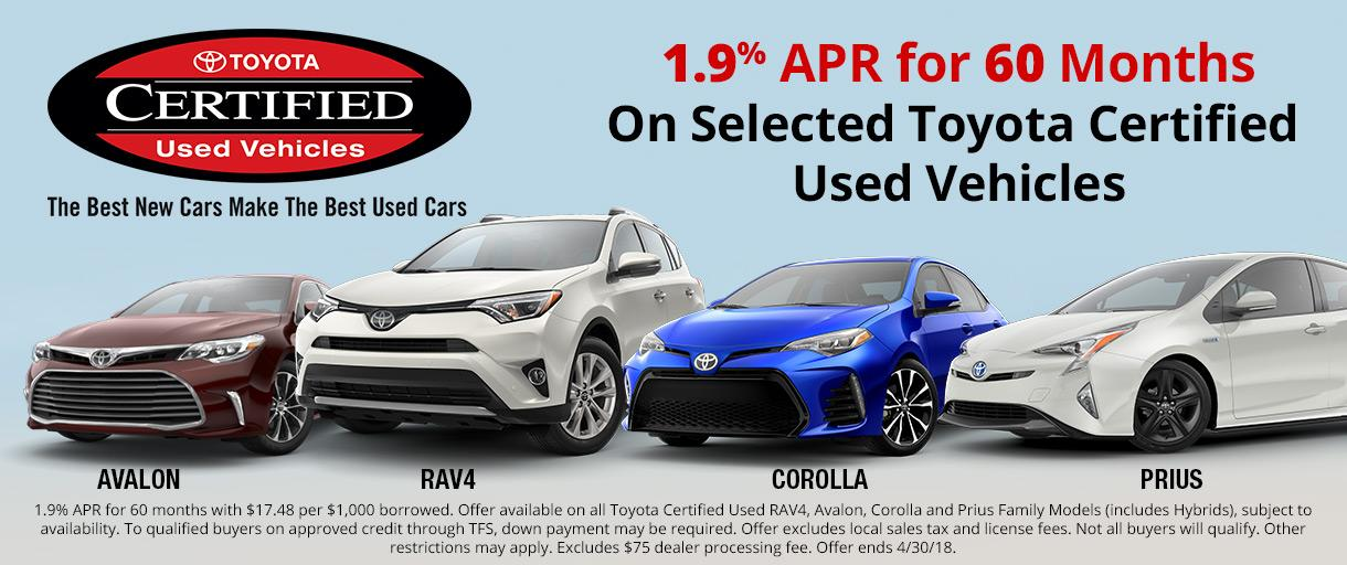 Toyota Certified Vehicles Special