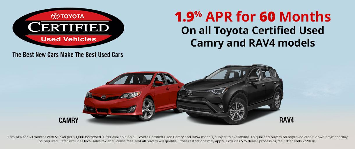 Toyota Certified Used Camry and RAV4 APR special