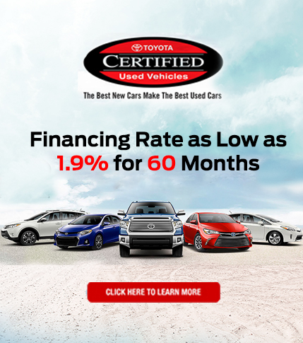 Toyota Certified Used Vehicles 1.9% APR for 60 Months!