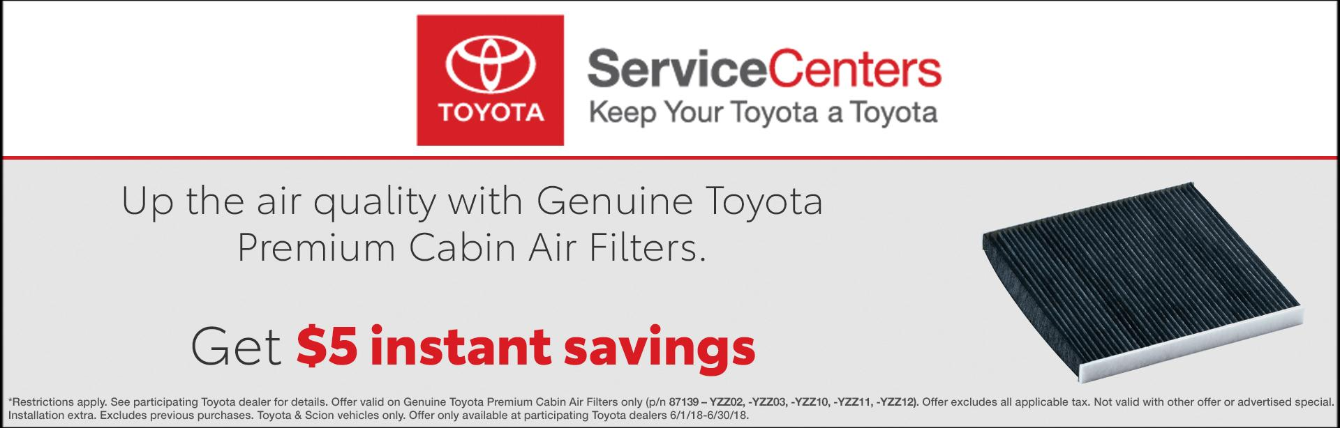 Toyota Cabin Air Filter Special