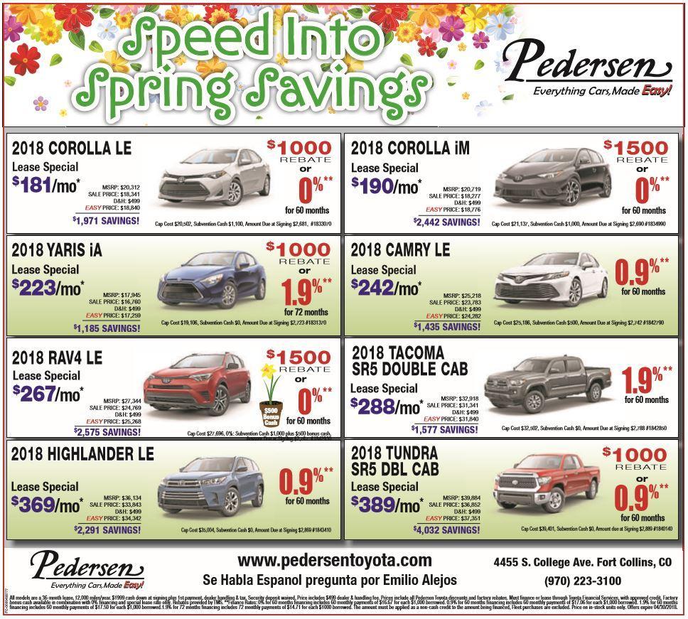 Pedersen Toyota New Specials