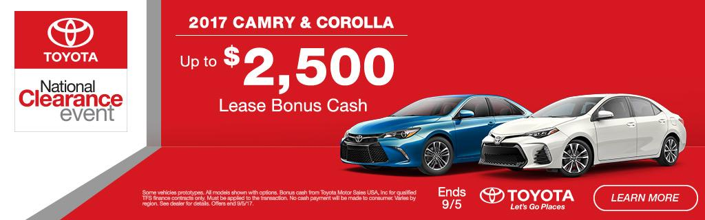 2017 Toyota Camry & Corolla Lease Bonus Cash