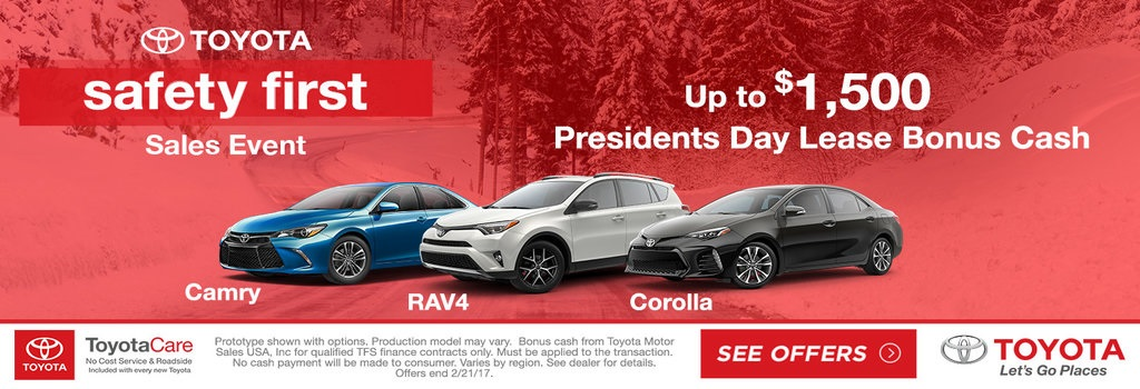 Toyota Presidents Day Lease Bonus Cash