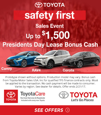 Toyota Presidents Day Lease and Bonus Cash Specials