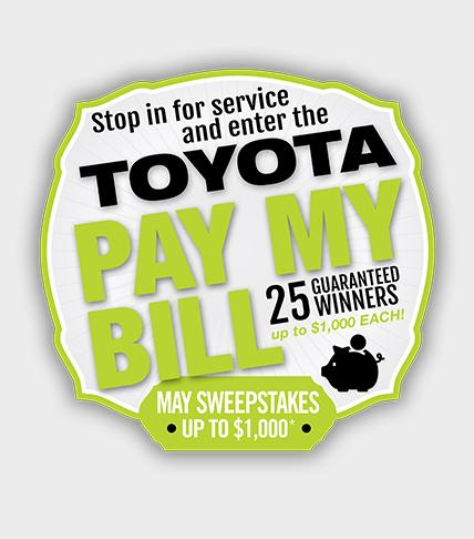 Toyota Pay My Bills Sweepstakes
