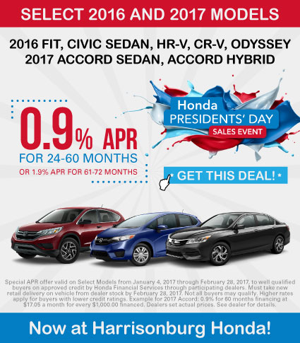 Presidents Day APR Specials at Harrisonburg Honda