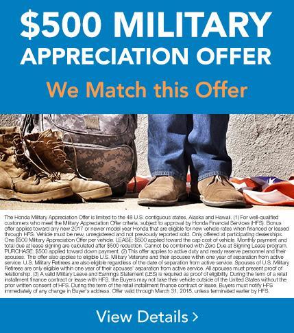 Honda Military Appreciation Offer