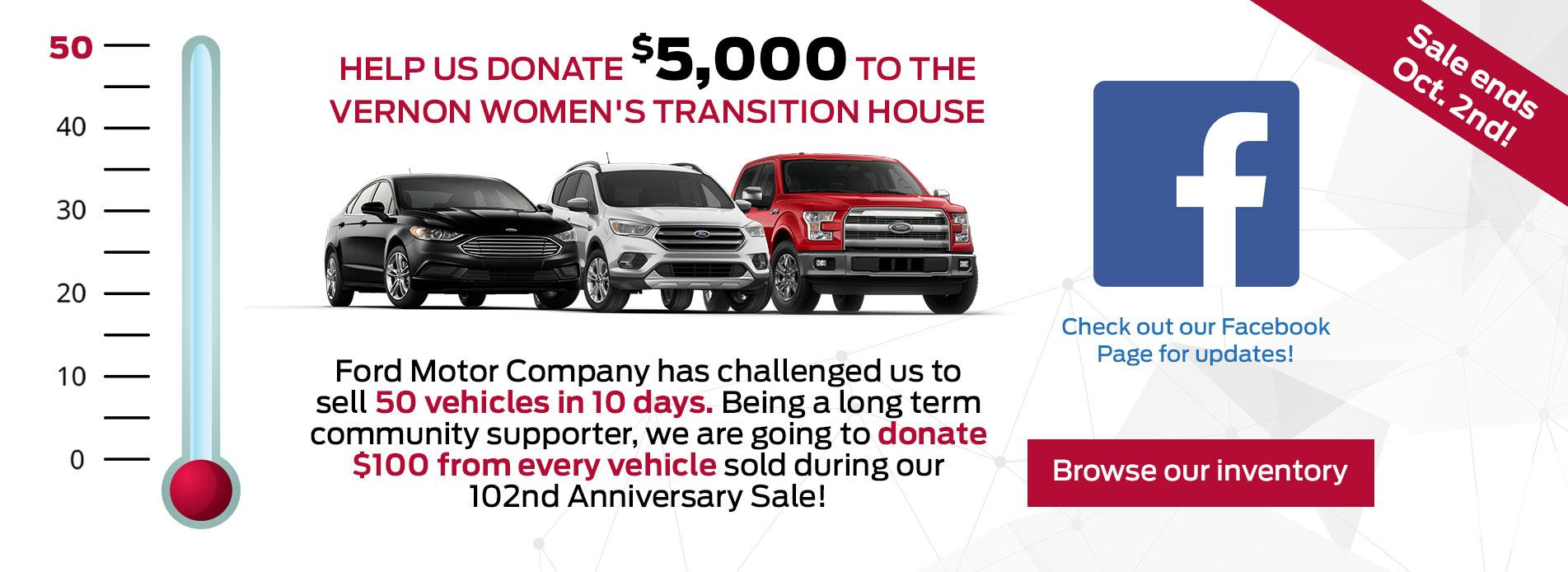 50 Cars in 10 Days = $100 donated from every vehicle sold