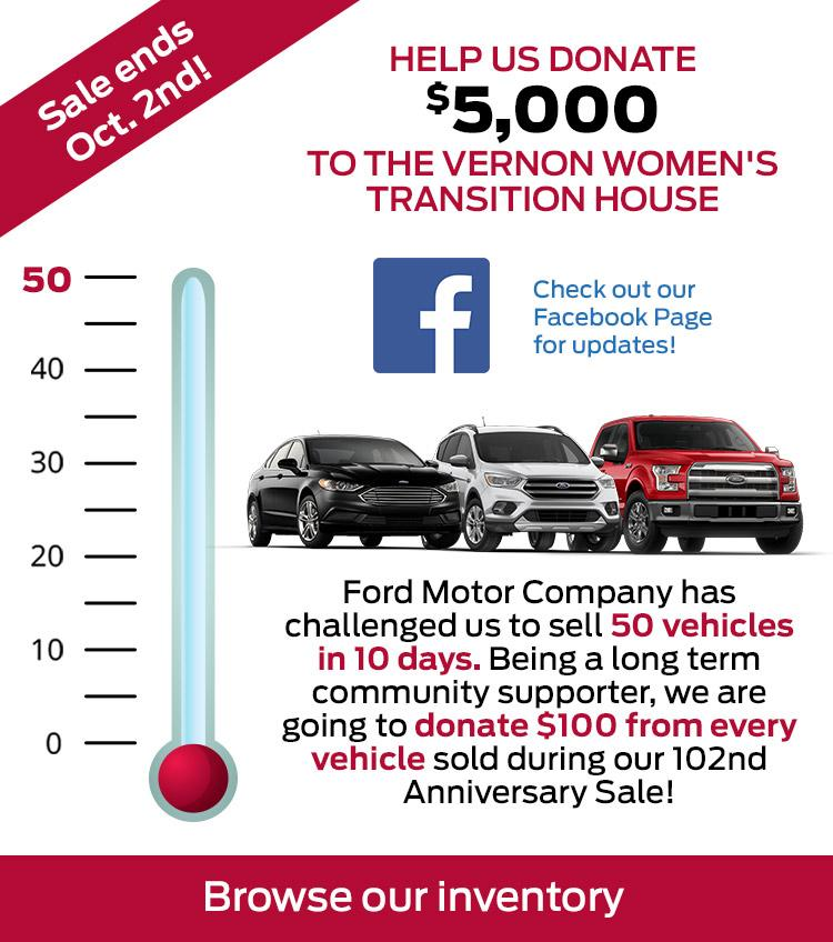 50 Cars in 10 Days = $100 donated from each vehicle sold