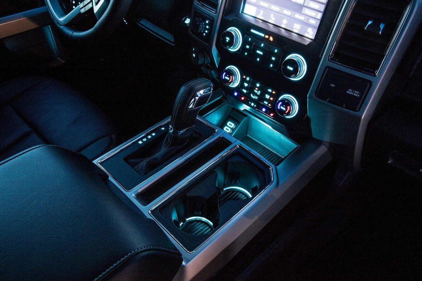 Ford F-150 illumunated interior center console at night
