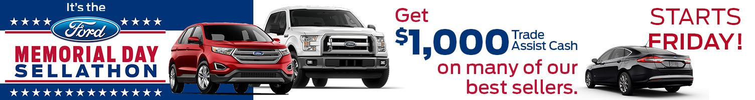 $1,000 Open Trade Assist on Many of Fords Best Sellers!