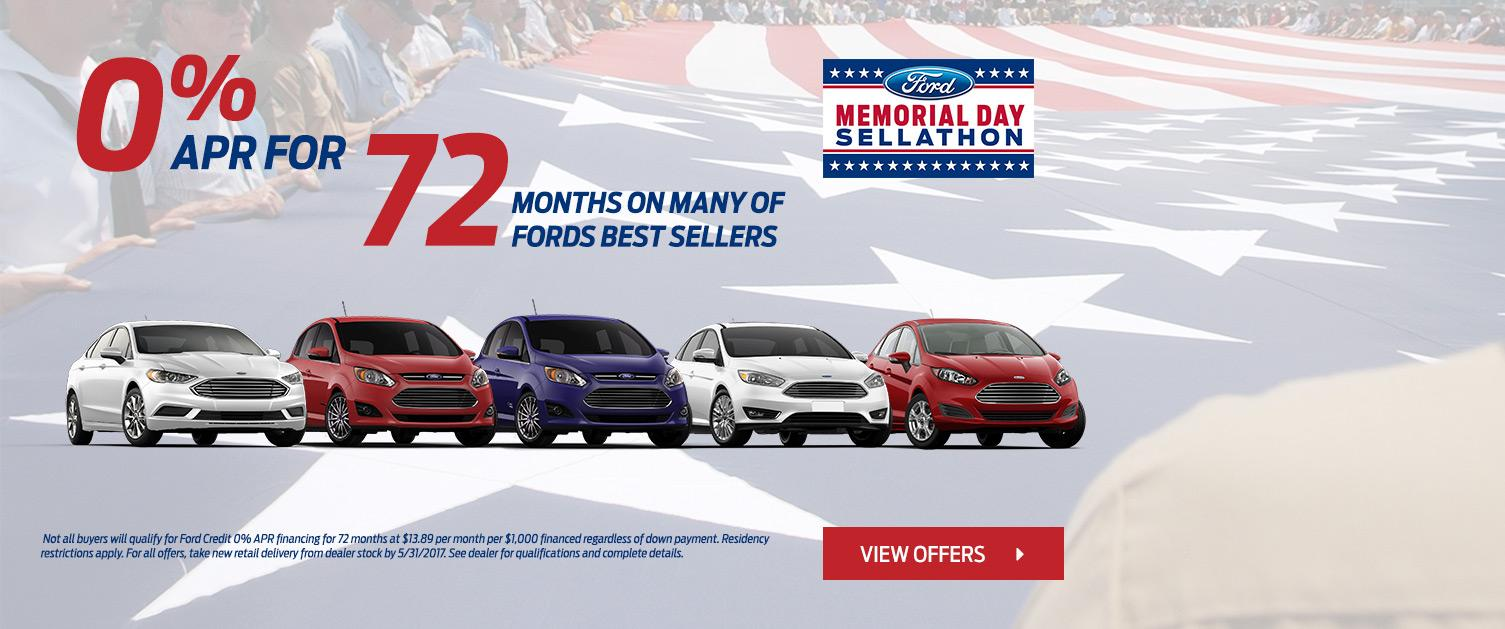 0% for 72 Months for Memorial Day Sellathon