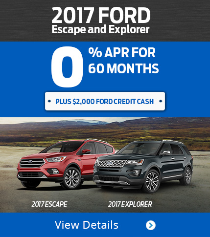 0% for 60 Months on 2017 Ford Escape and Explorer