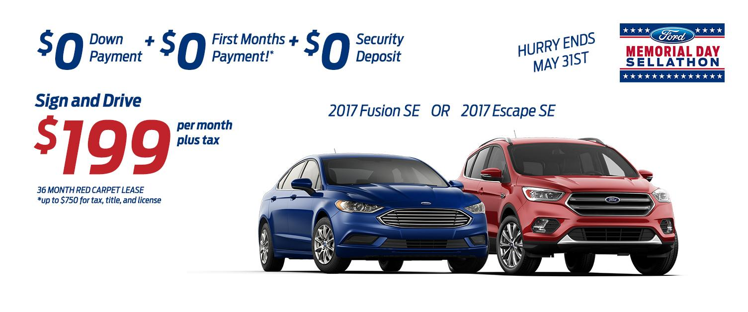 $199 Memorial Day Sign and Drive!