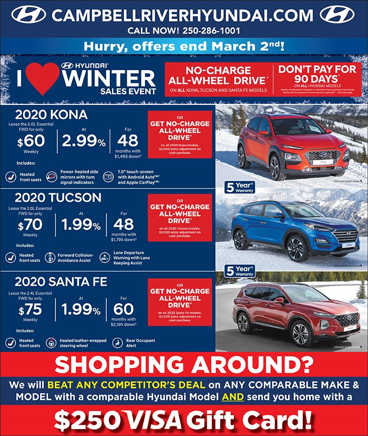 Campbell River Hyundai January 2020 Month Offers