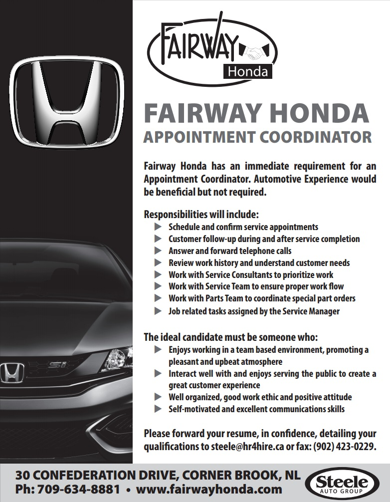 employment opportunities at fairway honda career opportunities
