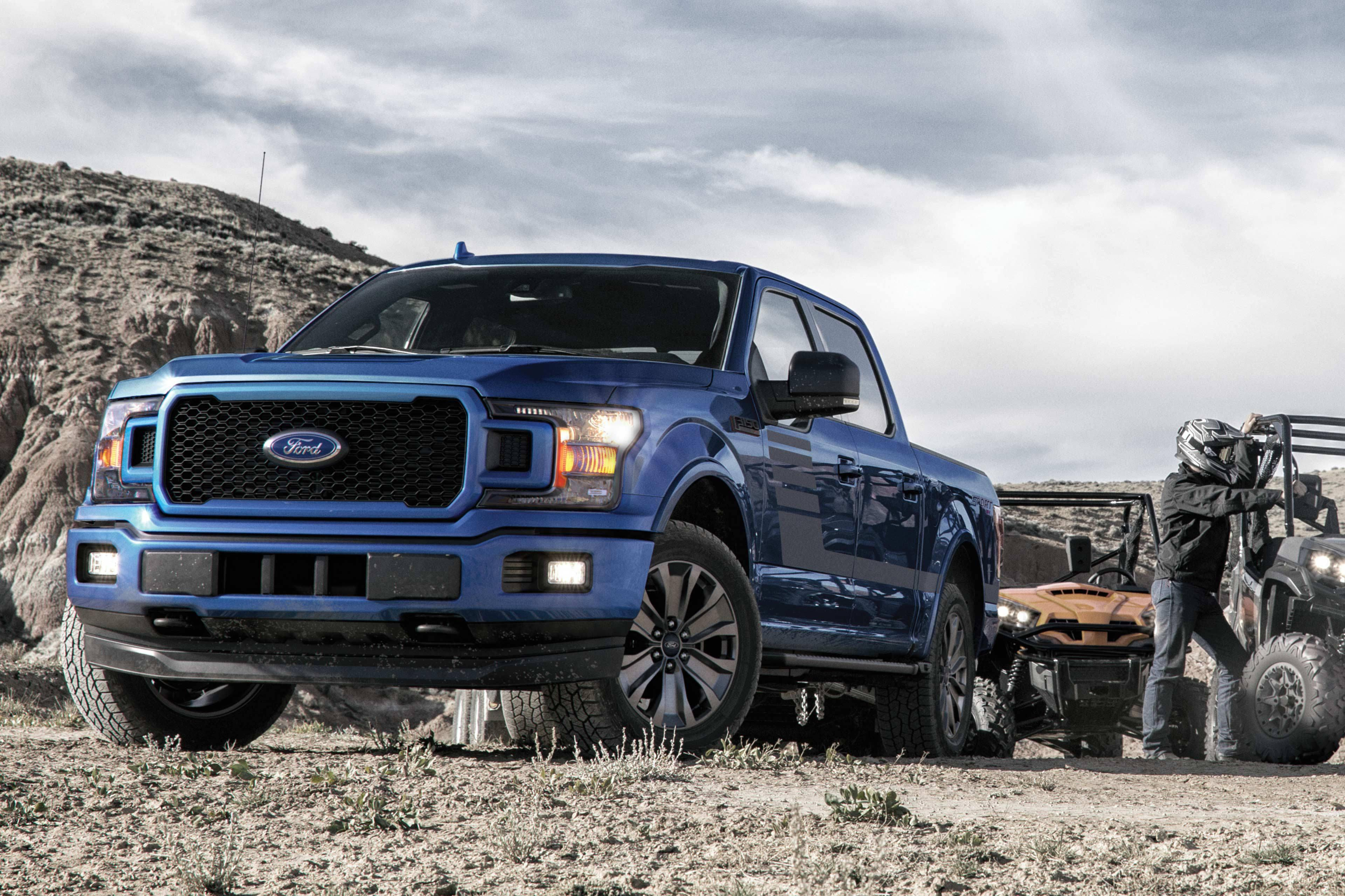 Front Exterior 2019 Ford F-150 XLT SuperCrew truck in Blue at Cabot Ford Lincoln in St. John's, Newfoundland and Labrador (NL)