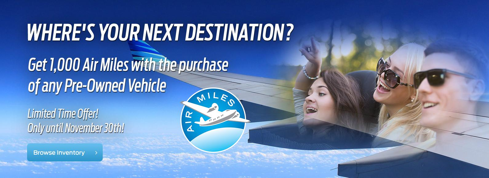 1,000 Air Miles when you buy a Used Car at Highland Ford