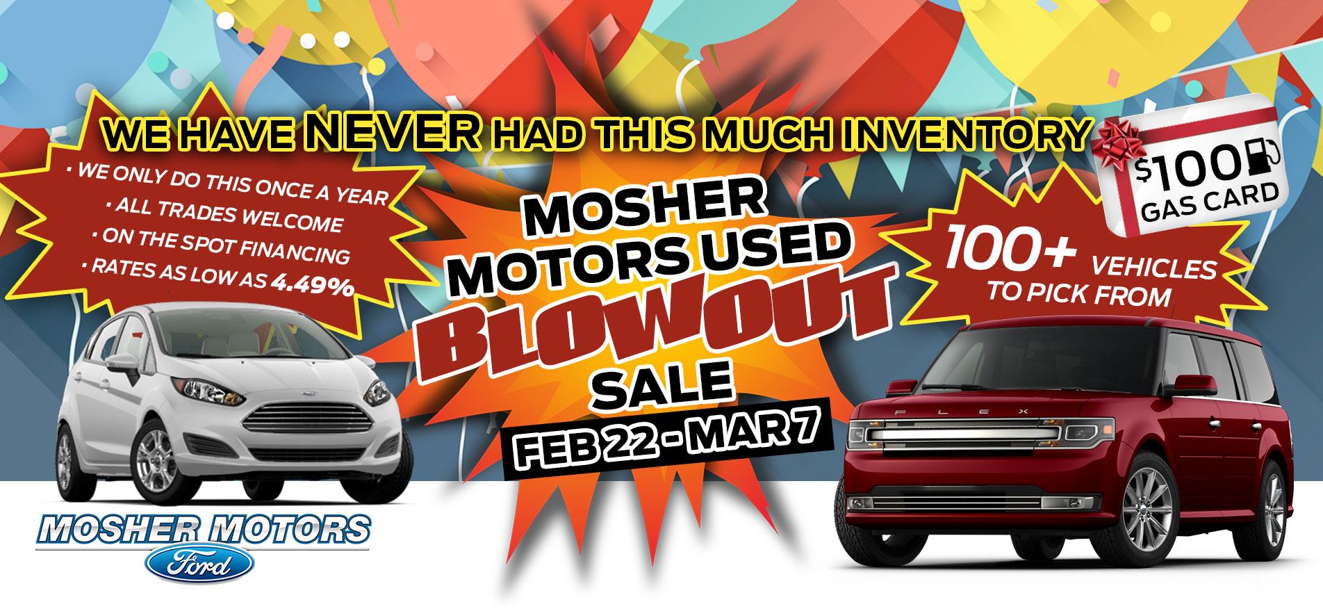 MOSHER MOTORS USED BLOWOUT SALES FEB 22- MAR 7