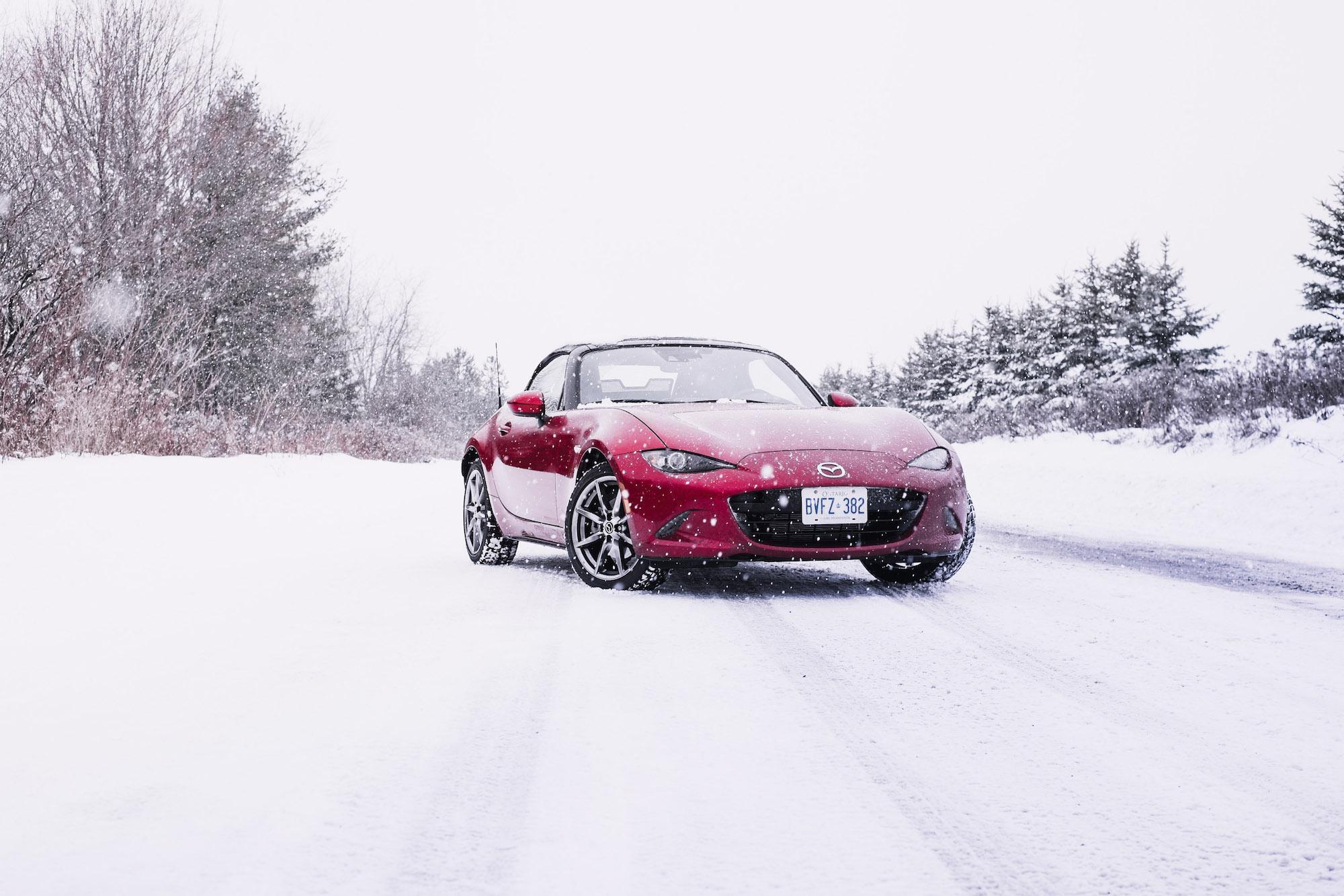 Red Mazda in the snow