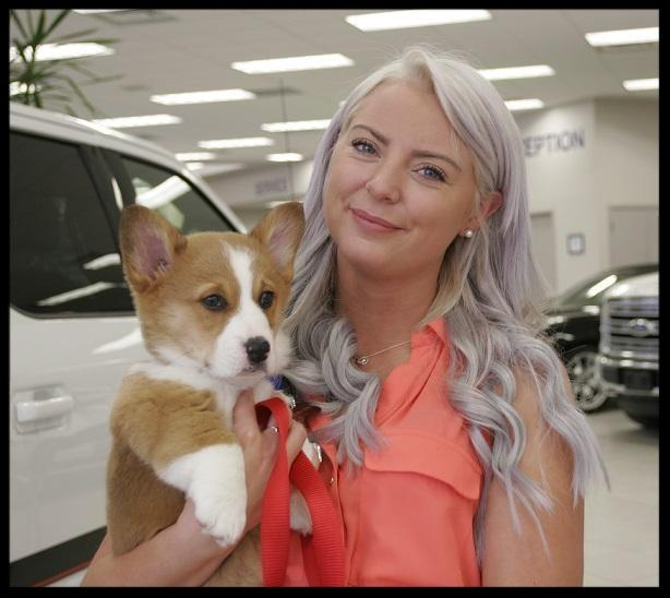 Kayla Pardy McAlpine Ford with Wrigley dog of the week.