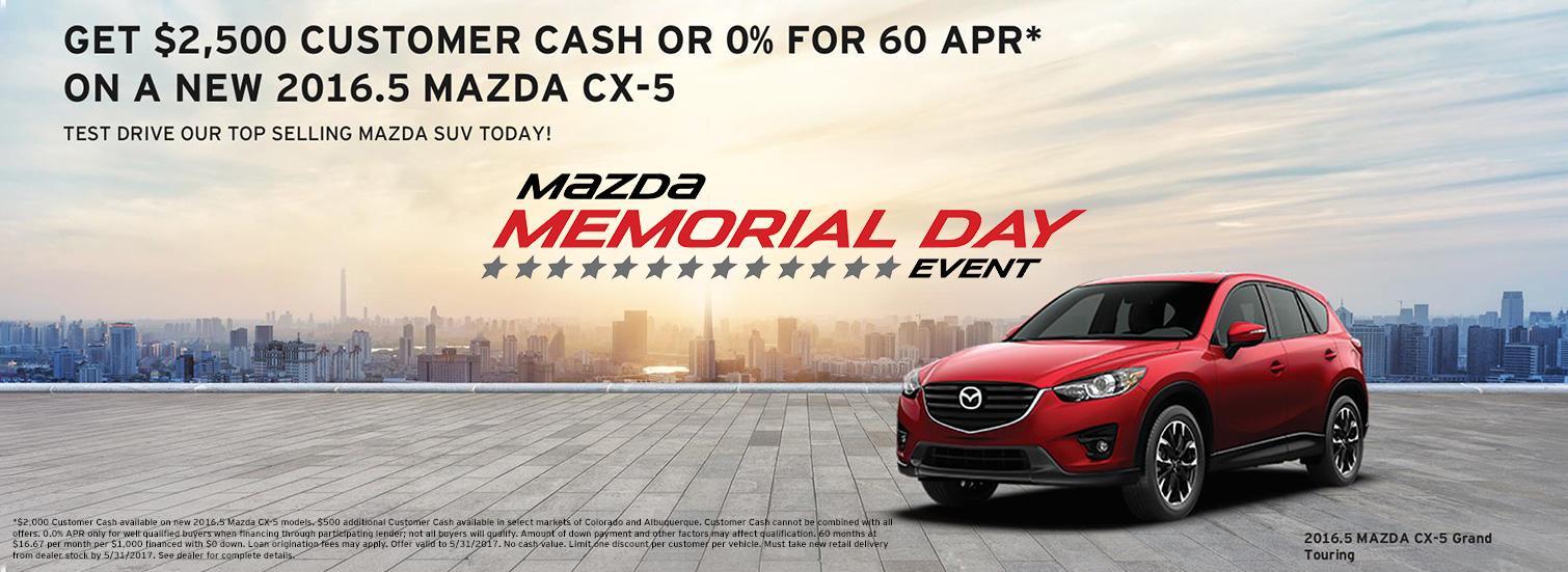 2016.5 Mazda CX-5 Special - Memorial Day Event