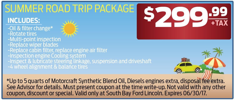 $299 Summer Road Trip Package