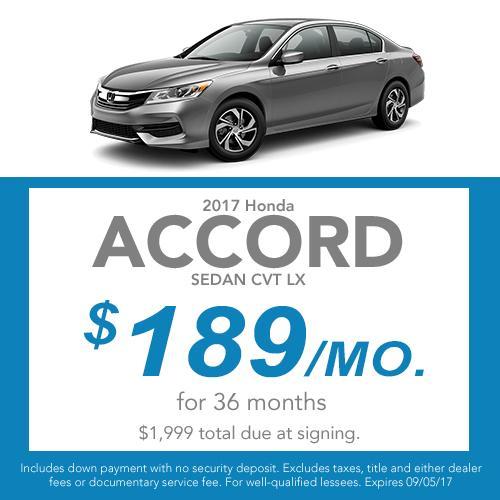 2017 Honda Accord Sedan CVT LX Lease Offer