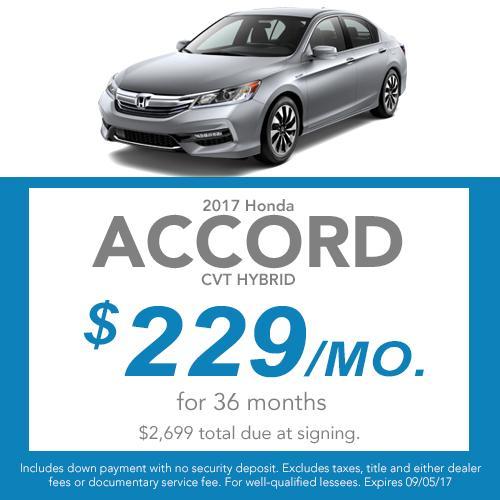 2017 Honda Accord Hybrid CVT Lease Offer