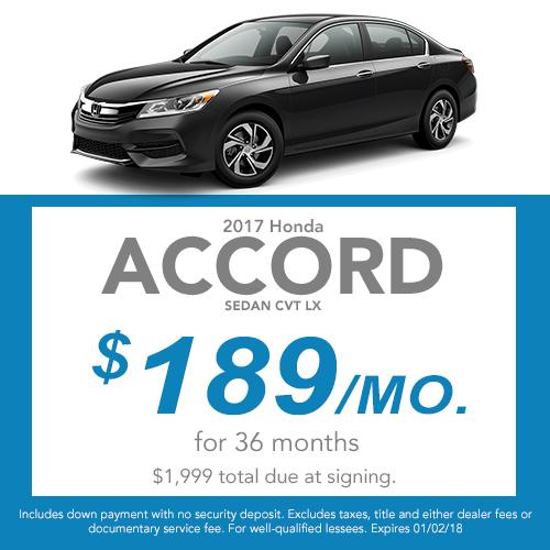 2017 Accord Sedan CVT LX Lease Offer