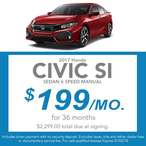 2017 Civic Si Sedan Lease Offer