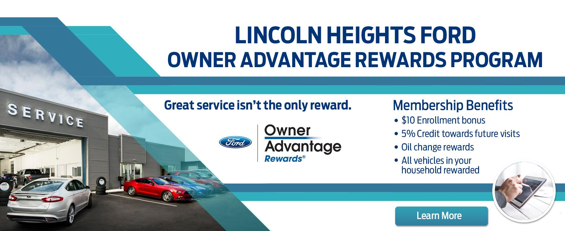 Lincoln Heights Ford Owner Advantage Rewards Program in Ottawa Ontario