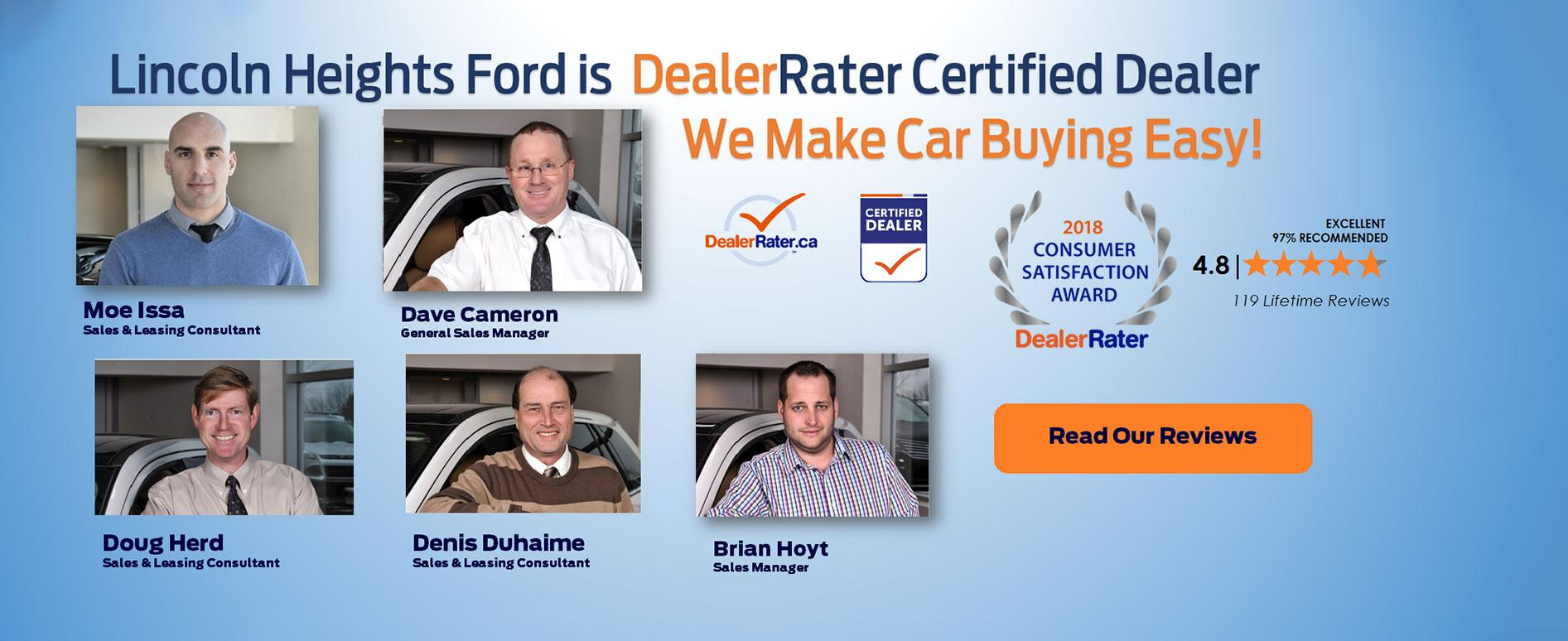 Lincoln Heights Ford Dealer Rater Certified