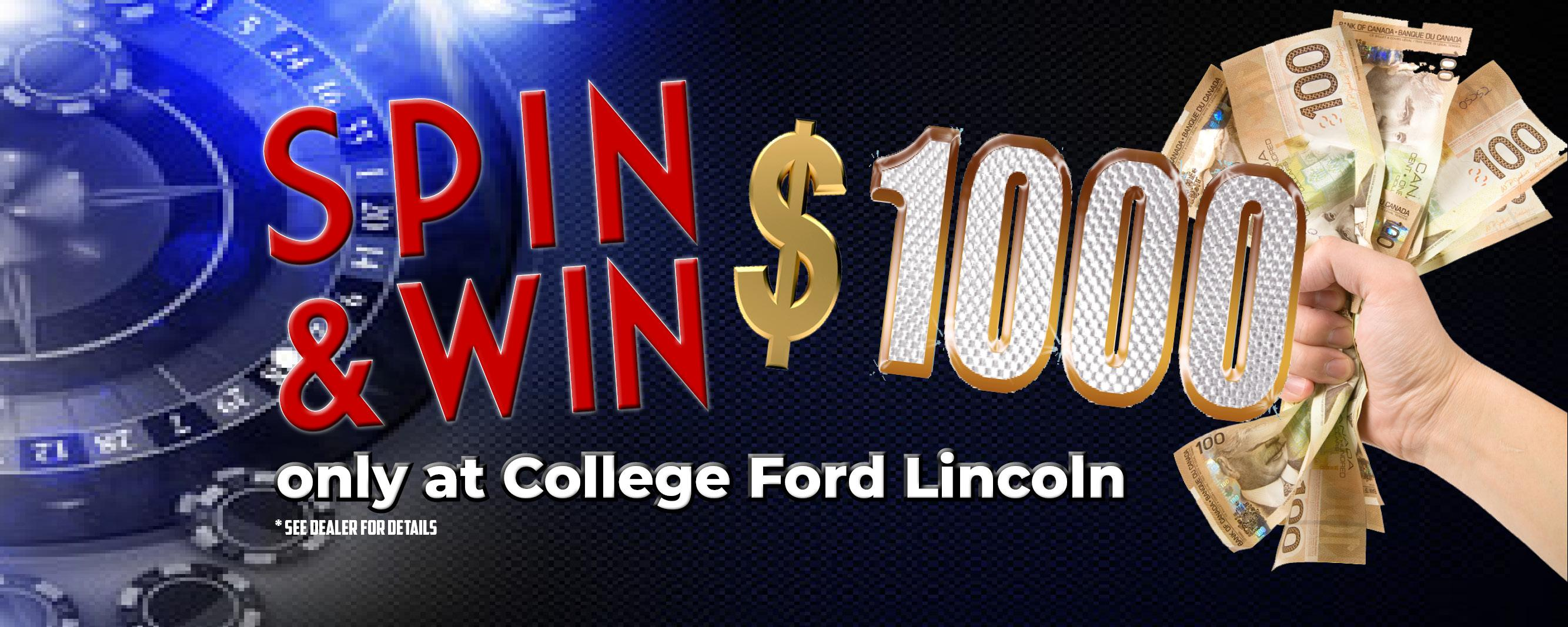 Spin and Win up to $1000 Cash!