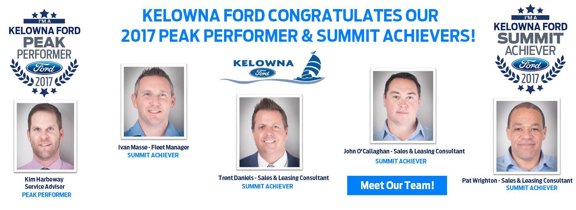 2017 Summit Achievers and Peak Performers Kelowna Ford