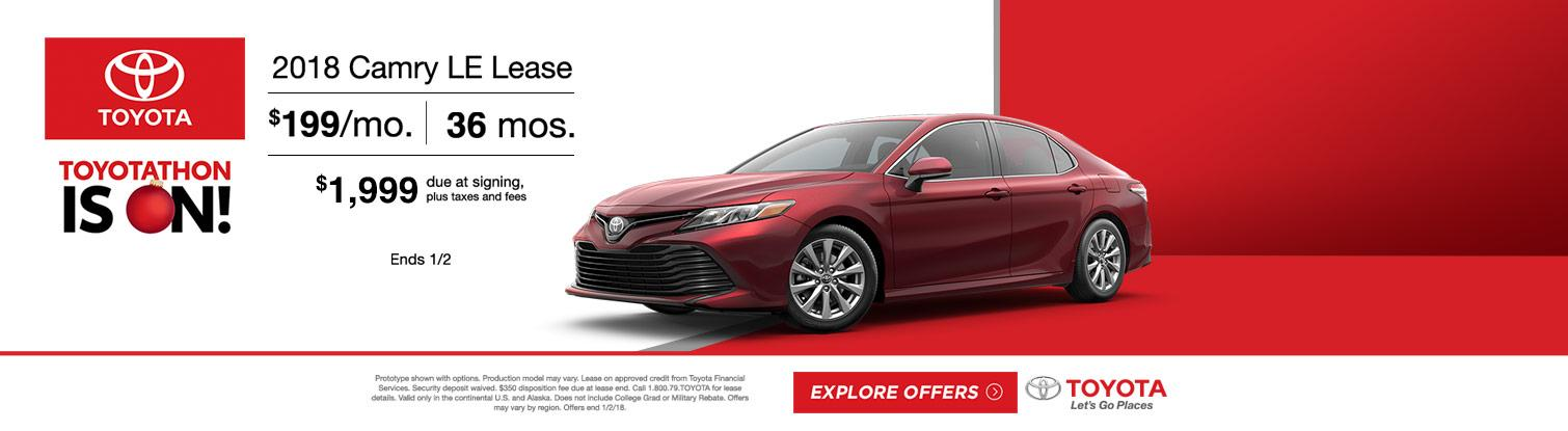 2018 Toyota Camry LE Lease Special