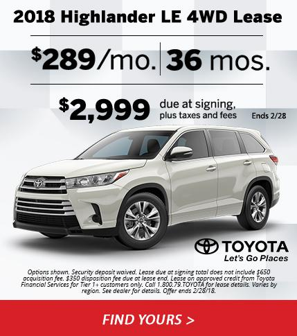 2018 Toyota Highlander LE 4WD Lease