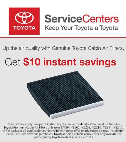Genuine Toyota Cabin Air Filters Savings