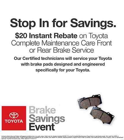 Pedersen Toyota Brake Savings Event